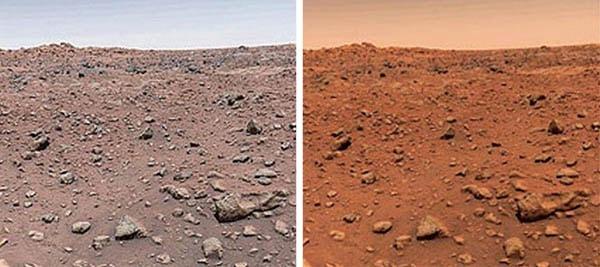 цветной снимок, сделанный на поверхности Марса