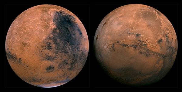 поверхность полушарий марс