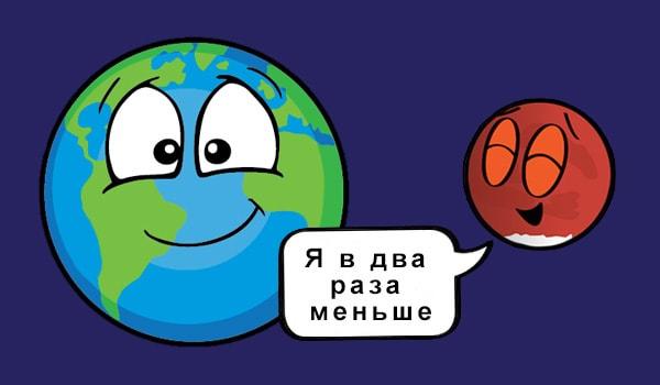 насколько велика планета марс