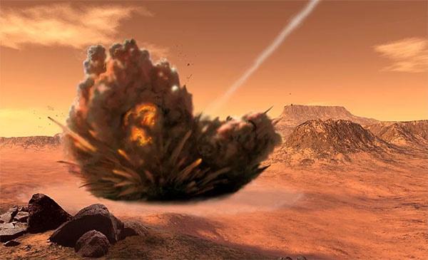 взрыв ракеты на поверхности Марса